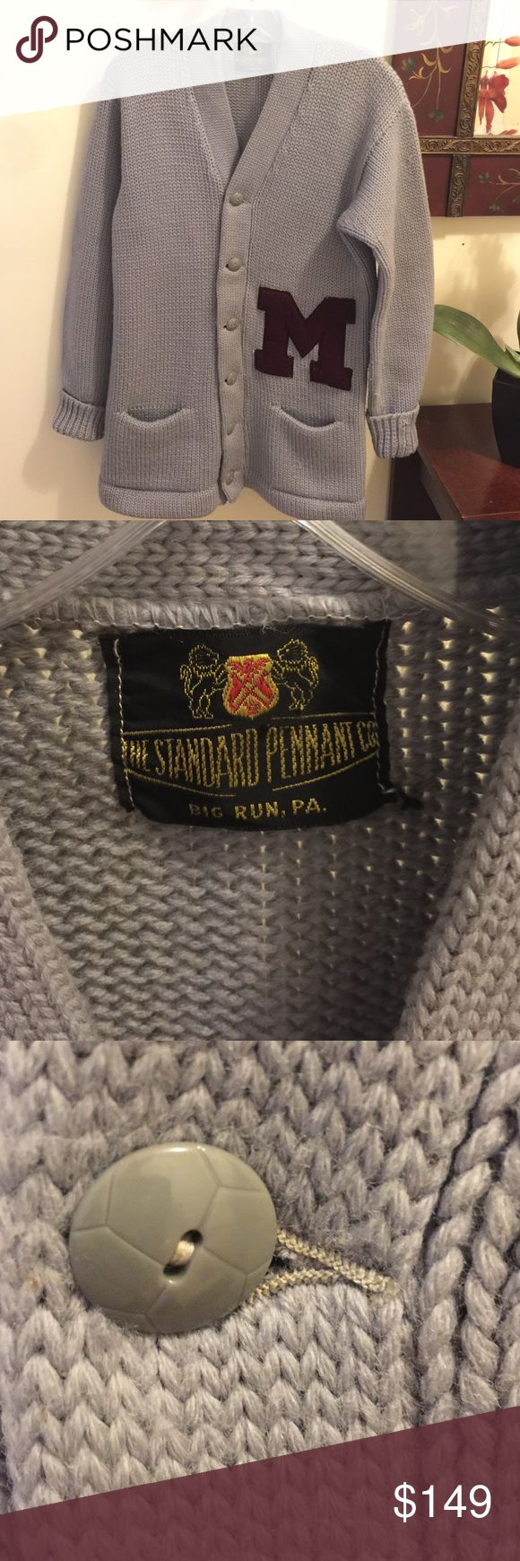 Vintage Thick Weave Letterman Sweater 40's-50's Vintage piece in excellent condition, can we worn with leggings, skinny jeans etc... looks awesome. There is no size  tag but it will fit a size medium top perfectly.  Non smoking house Sweaters Cardigans