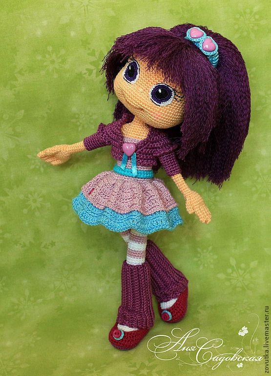 Купить Мастер-класс по вязанию крючком куколки Сливки - тёмно-фиолетовый, сливка, мультяшка ♡