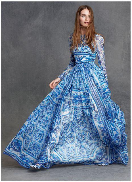 2016 Famous Brand D* 100% Silk Long Dress pinkball Blue and white porcelain series elegant Soft women Spring Fashion faldas jupe US $108.00 /piece   Click link to buy other product http://goo.gl/p8JMyk