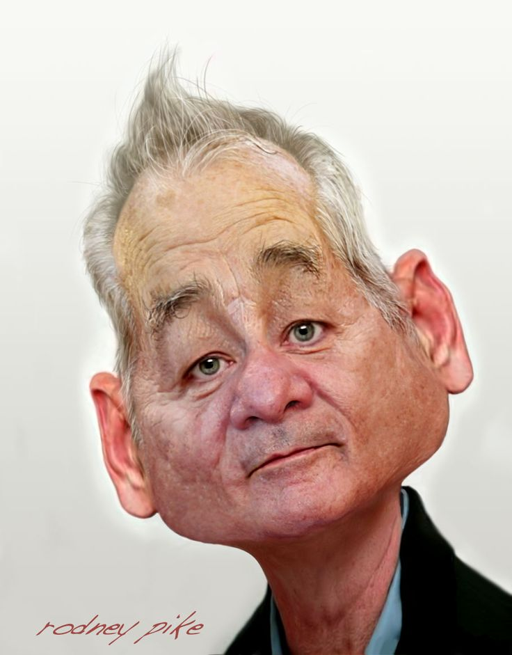 Rodney Pike Humorous Illustrator: Another Caricature Study of Bill Murray