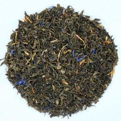 Thé vert Jardin des Îles bio Mélange de thé vert Chun Mee, d'arôme naturel de mangue, pétales de bleuet et de souci. Il offre une tasse verte avec des notes suaves et fruitées. Avec son goût sucré, ce thé savoureux se dégustera tout au long de la journée.  Préparation : 3 cuillères à café pour 1l d'eau chaude  Temps d'infusion : de 2 à 3 minutes