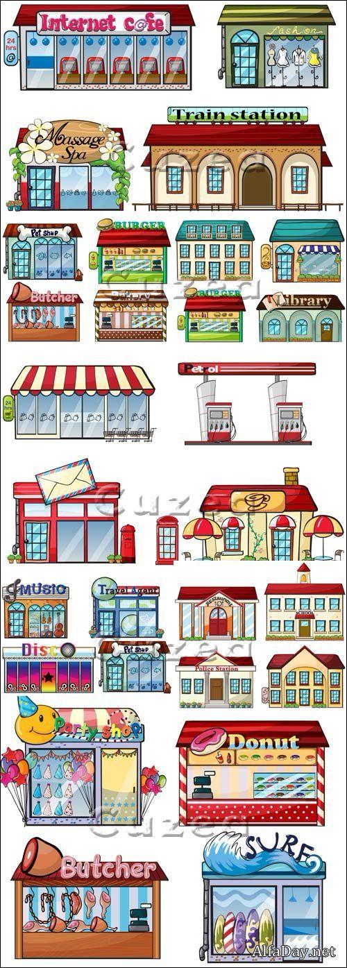 Магазины, вокзал, интернет кафе, библиотека, мясная лавка, городские здания - векторный клипарт