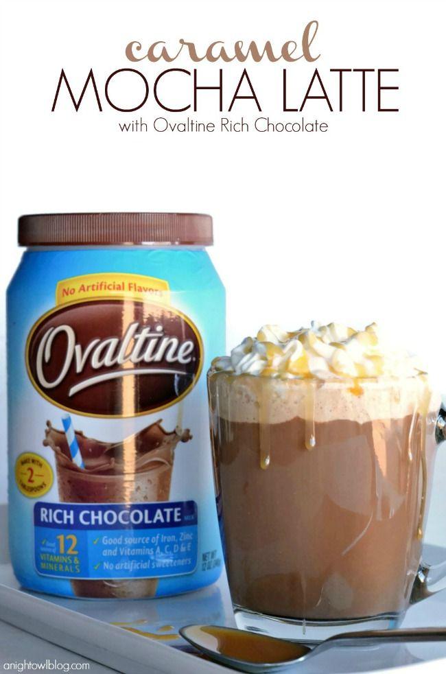 Easy Caramel Mocha Latte Ingredients: 6 oz Coffee, 2 Tbsp Ovaltine Rich Chocolate, 1 Tbsp Sugar-Free Caramel Coffee Syrup, 2 oz Milk, Fat-free Whipped Cream, Caramel Syrup