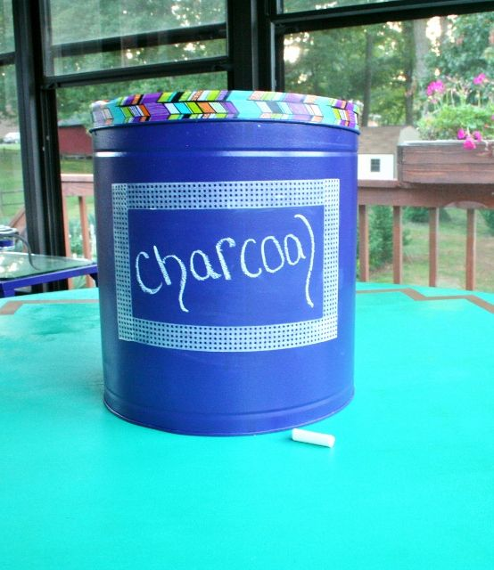 (7) Hometalk :: Upcycled Popcorn Tin Into Charcoal Bin