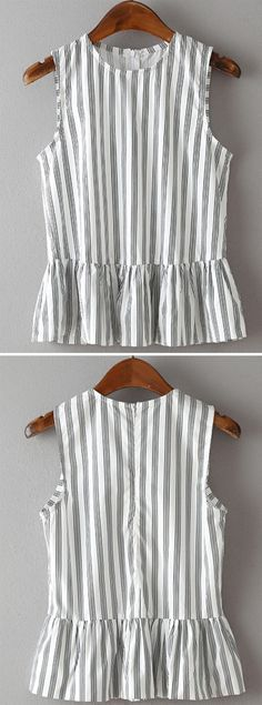 Vertical Striped Sleeveless Peplum Top
