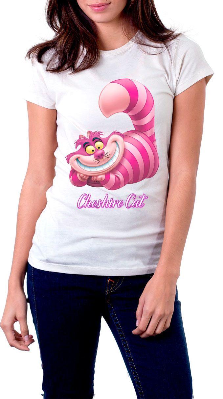 Camiseta chica Alicia en el País de las Maravillas. Cheshire sonriente  Estupenda camiseta para chica con el diseño del gato Cheshire sonriente, un personaje visto en el film de Alicia en el País de las Maravillas.