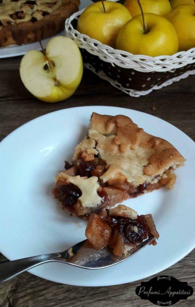 Crostata con mele e mirtilli rossi ricetta - Profumi Appetitosi ---------------------- Tart with apples and cranberries