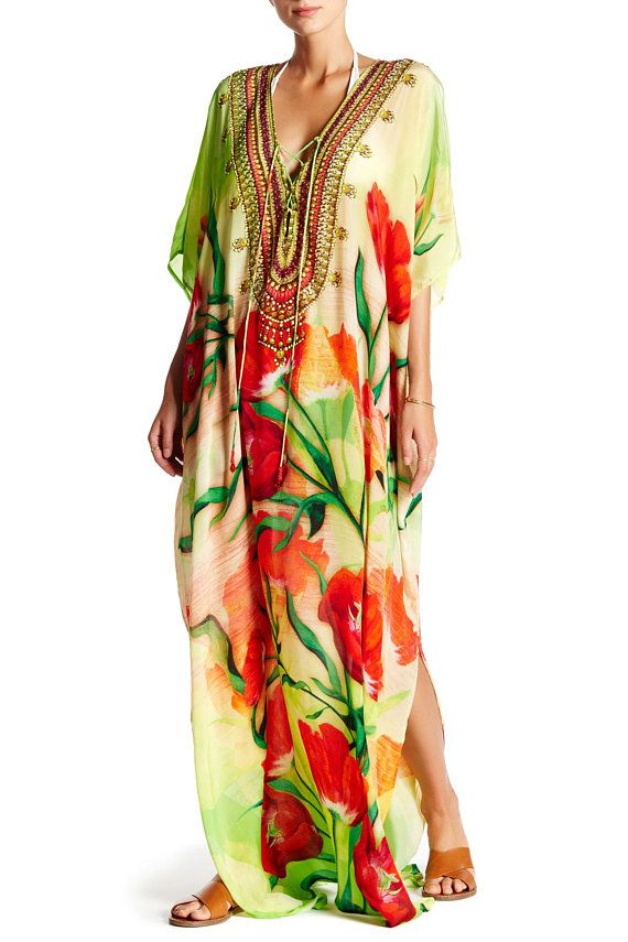 f561430b2d5e Kaftan Dress, Floral Print, Long Kaftan, Floral print Kaftan, Floral Print  Dress, Plus Size Kaftans, Beach Kaftans, Silk Kaftans, caftans