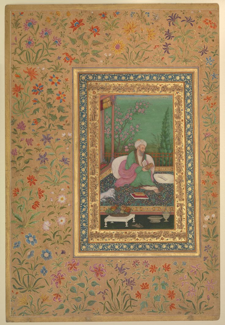 """""""Haji Husain Bukhari"""", Folio from the Shah Jahan Album Object Name: Album leaf Date: recto: early 19th century; verso: later copy of 16th century original Geography: India"""
