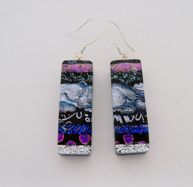 Dichroic glass dangle earrings. by slotzkin on Etsy https://www.etsy.com/listing/74179571/dichroic-glass-dangle-earrings