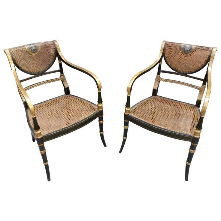 Pair Regency Ebonised Carver Chairs   From a unique collection of antique and modern bergere chairs at https://www.1stdibs.com/furniture/seating/bergere-chairs/