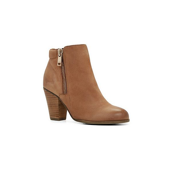 Boots ($120) ❤ liked on Polyvore featuring shoes, boots, ankle booties, ankle boots, camel, high heel bootie, zipper ankle boots, camel ankle boots and block heel booties