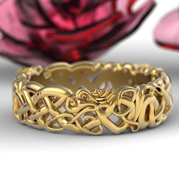 Gold Celtic Dragon Wedding Ring Womens Wedding Band Norse Etsy Dragon Wedding Viking Wedding Ring Celtic Wedding Rings