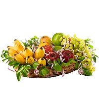 Fruity Basket – A delicious fruity gourmet consisting of  a) apples,  b) grapes,  c) bananas,  d) sweet limes etc. (3kg) decorated with ribbons in a beautiful bamboo basket.