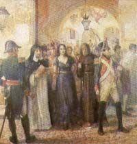 Policarpa Salavarrieta conducida al cadalso. Oleo de Pedro A. Quijano, 1944. Casa  Museo del 20 de Julio.