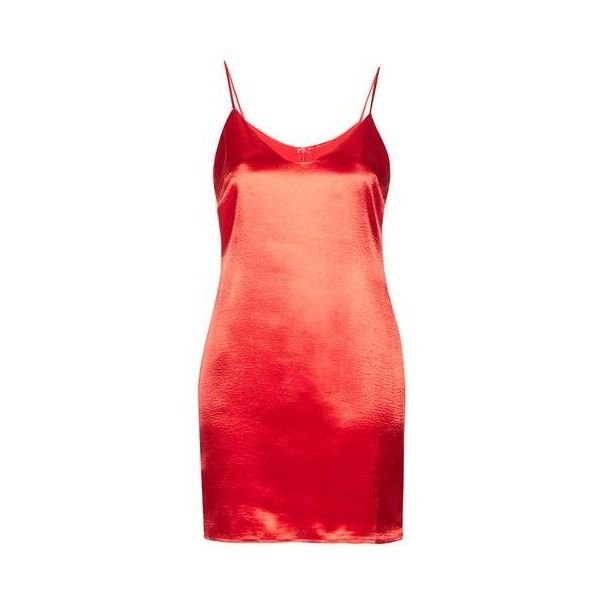 Satin Camisole Dress by Glamorous ($29) ❤ liked on Polyvore featuring dresses, red, camisole dress, red satin camisole, layering cami, red cami dress and red satin dress