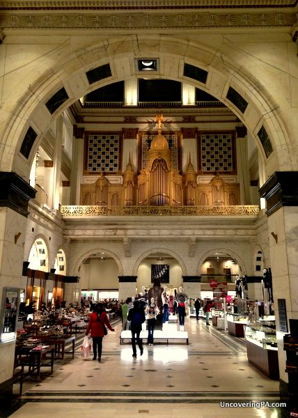 Looking into Macy's atrium at the Wanamaker Organ's pipes in Philadelphia, Pennsylvania - http://uncoveringpa.com/visiting-the-wanamaker-organ