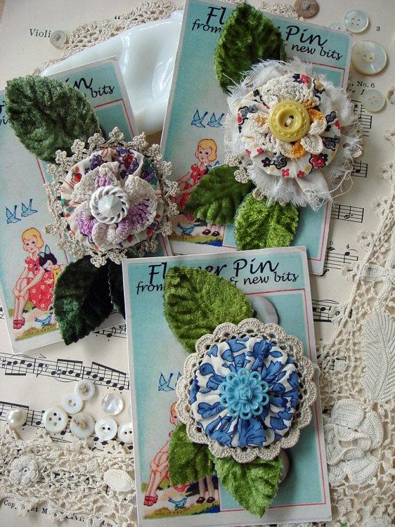 yo yo flower pin  for fashion or decor - you choose by ajoy2bheld, $8.50