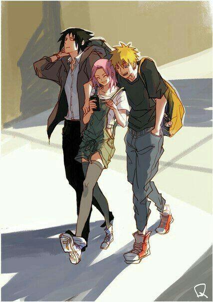 Team 7, Naruto, Sakura, Sasuke, cool, outfits, bookbags; Naruto