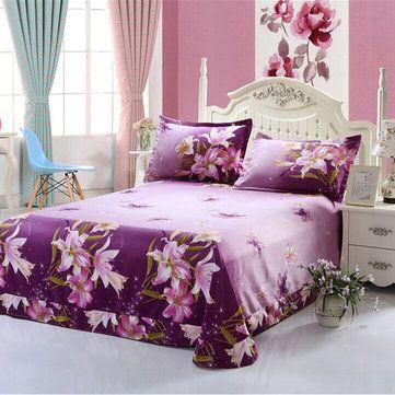 4pcs Suit Polyester Fiber 3D Purple Lily Flower Reactive Dyeing Bedding Sets Queen King Size