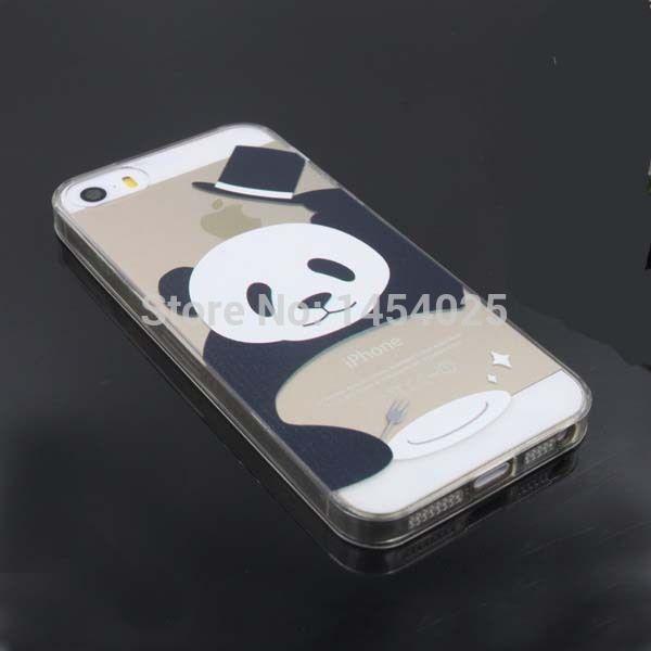 Barato Para o iPhone 5S 5 Case Animal panda padrão TPU material rígido de volta…