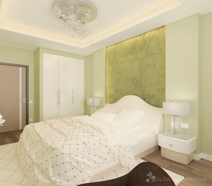 Дизайн спальни в зеленых тонах от студии Ольги Мудряковой