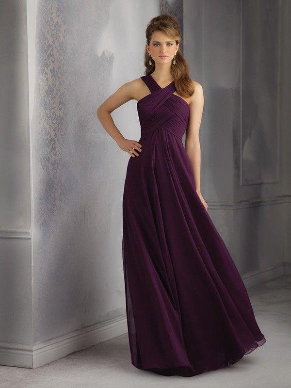 ab50c0812d8da Sheath/Column Sleeveless Halter Chiffon Ruched Floor-Length Dresses in 2019    patterns   Bridesmaid dresses, Lilac bridesmaid dresses, Grape bridesmaid  ...