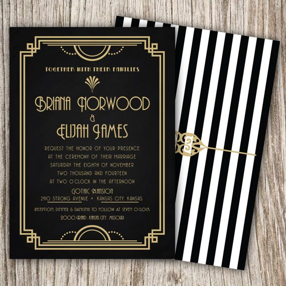 Quinceanera Invitation, Art Deco Invitation, Great Gatsby Invitation, Wedding Invitation, Bridal Shower, Sweet Sixteen Invitation, Sweet 16