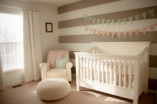 Cream Nursery With Accents Of Light Pink And Mint
