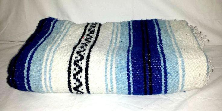 Mexican Serape,Blue,Pendelton Style,Saltillo,Mexican Blanket,Fringe,Southwestern Blanket,Falsa,Mexican Throw,Blue Mexican Blanket,Serape by JunkYardBlonde on Etsy
