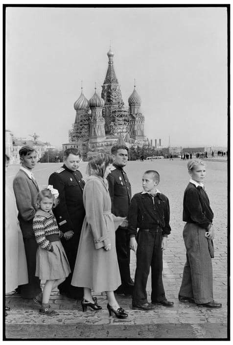 1954 Moscow,people  in line to visit Lenin Mausoleum