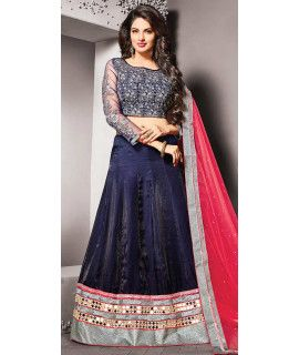 Ravishing Blue Silk Lehenga Choli With Dupatta.
