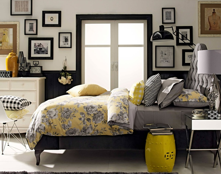 Yellow and grey bedroom. The use of colour is gorgeous.