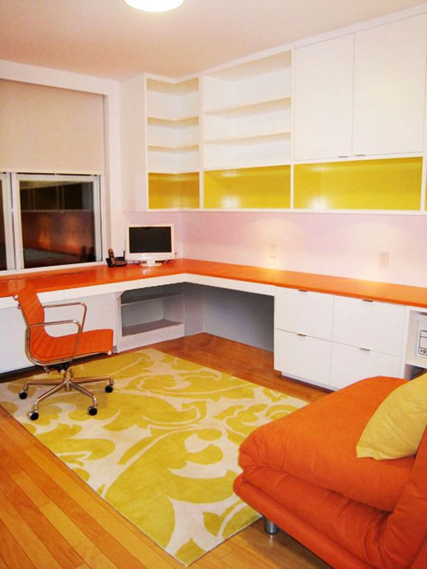 orange and yellow home office -  very dramatic