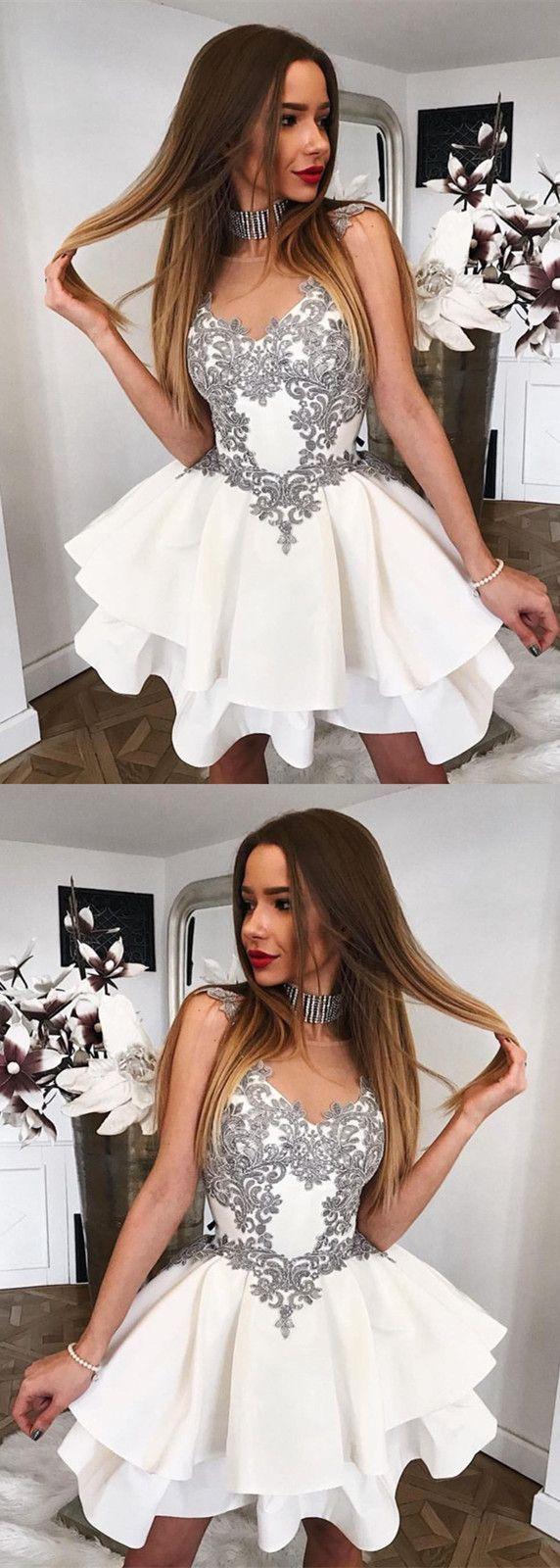 Short Gray Lace Appliques Scoop Neckline Ruffle Satin Homecoming Dresses #homecomingdresses #homecomingdressesshort