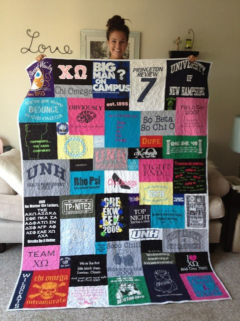 T-shirt quilt that is not even blocks and rows. This is what I want my t-shirt quilt(s) to look like when I finally attempt to make one.