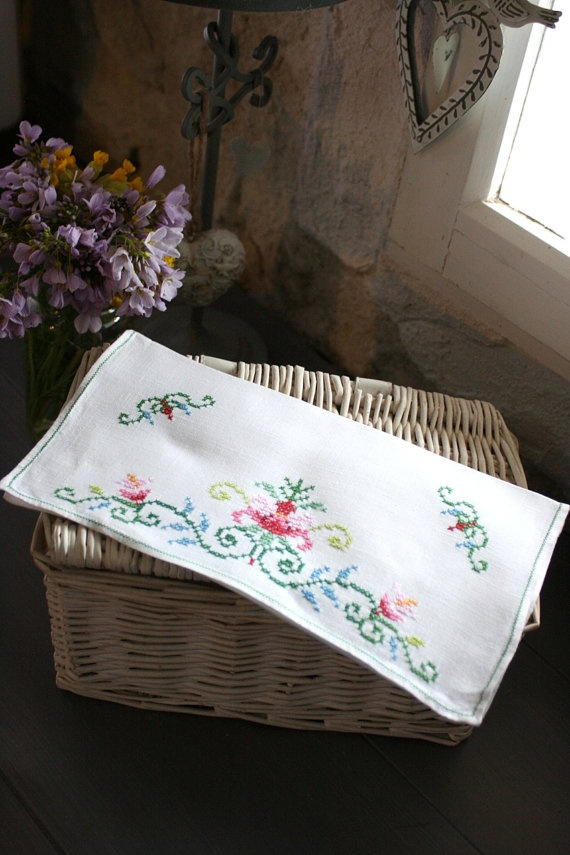 French Vintage Pretty CrossStitch Pocket or Pouch by Chezpetitpica, €12.00