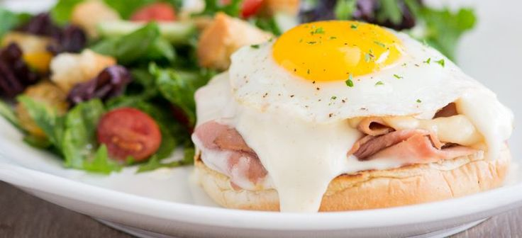 NEW Brioche Croque Madame--Open-faced ham and Swiss sandwich with our classic French Mornay sauce served on brioche, topped with a fried egg — c'est magnifique! Served with a Petite Salade de Mimi's. Coming to your local Mimi's Cafe on October 7.