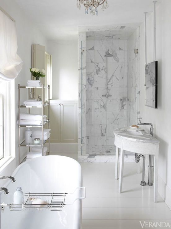 Crisp White Master Bath Design Calcutta Marble Shower Surround