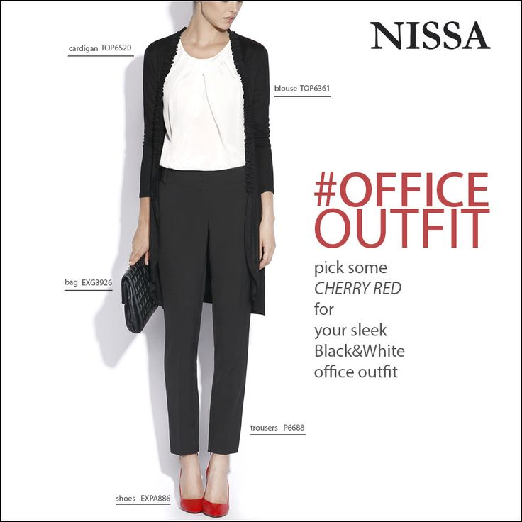 OFFICE Outfit tip: pick some cherry red for your sleek Black&White outfit!  www.nissa.com  #nissa #outfit #sleek #style #officewear #officestyle #fashion #fashionista #bw #cherry #red #tip #fashioninspiration