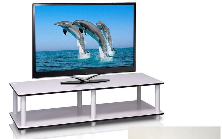 White simple TV stand media entertainment center storage cabinet furniture Lsize