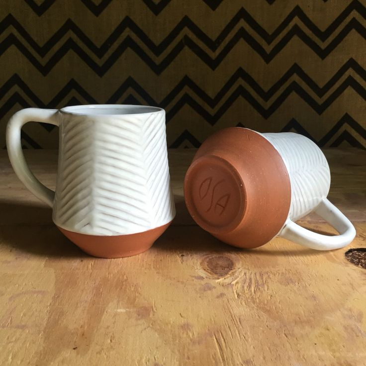 Large Ceramic Mug - Carved Terracotta Jumbo Mug - Red Clay Mug - Modern Handmade Pottery by PotterybyOsa on Etsy https://www.etsy.com/listing/254245909/large-ceramic-mug-carved-terracotta