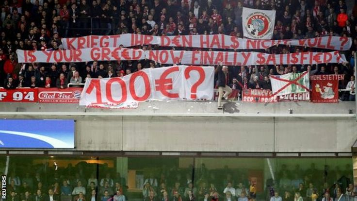 Bayern Munich fans' banner. Protest against 100 Euro ticket prices for UEFA Champions League at RSC Anderlecht. Nov 2017