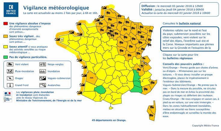 Carte de vigilance Météo-France 3 janvier 2018