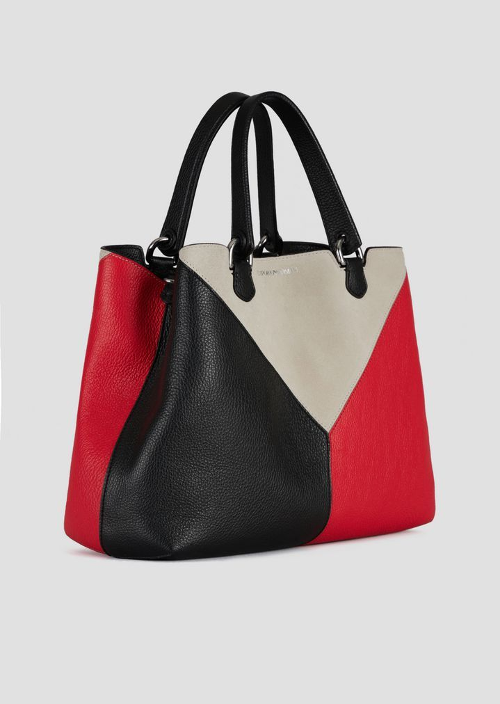 bfd538020e Emporio Armani Leather Shopping Bag With Triangular Colorblock-Motif ...