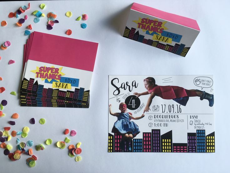 Girls Superhero Party {Invitation + Thank you Tags} by Loud Thoughts Design https://www.etsy.com/au/shop/LoudThoughtsDesign