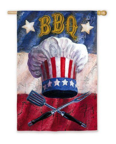 """Patriotic Barbecue Flag (Regular Size) by House-Impressions. $24.99. 29"""" x 43"""". Great for yourself or as a gift. A beautiful addition to your home. Original Artwork by © Geoff Allen, Ruth Levison Design. When you think of the Fourth of July, you think of fireworks, of stars and stripes, of apple pie, and, of course, that mid-summer barbeque. This flag is a celebration of all of these American traditions. With red, white, and blue fervor, Uncle Sam's chefs hat is displayed over g..."""