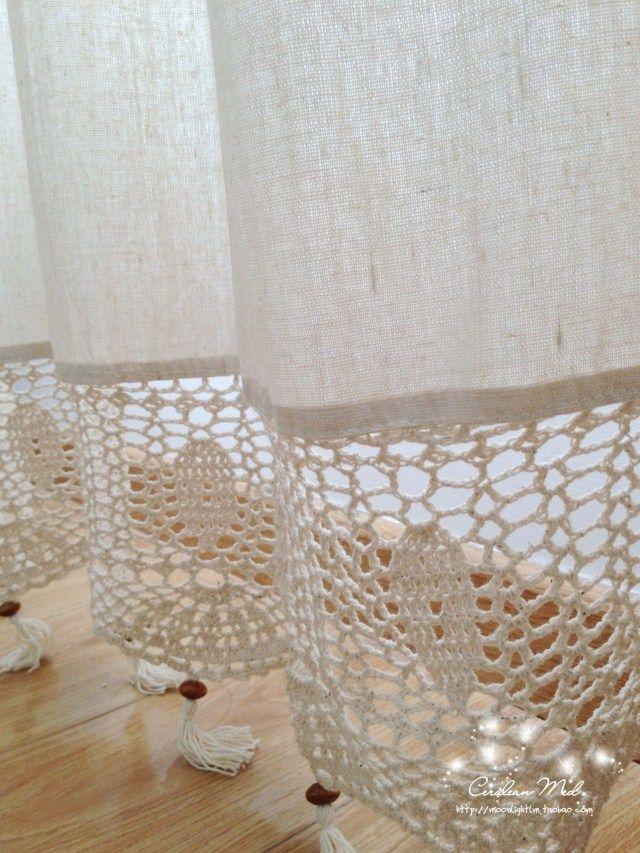 cortinas lienzo y crochet - Buscar con Google                                                                                                                                                      Más