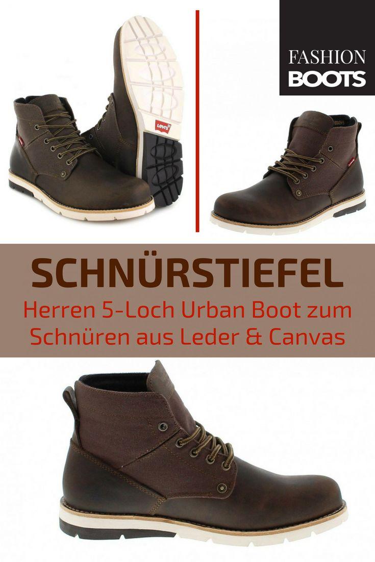 Levi´s Footwear JAX Dark Brown Schnürstiefel - braun | Trendiger Herren 5-Loch Urban Boot zum Schnüren aus Leder und Canvas