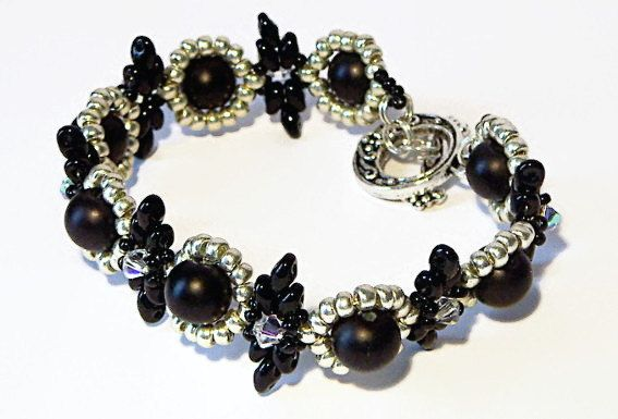Beaded Bracelet, Black Bracelet, Black Bead Bracelet, Unique Black, silver and crystal bead bracelet with glass pearly beads - pinned by pin4etsy.com